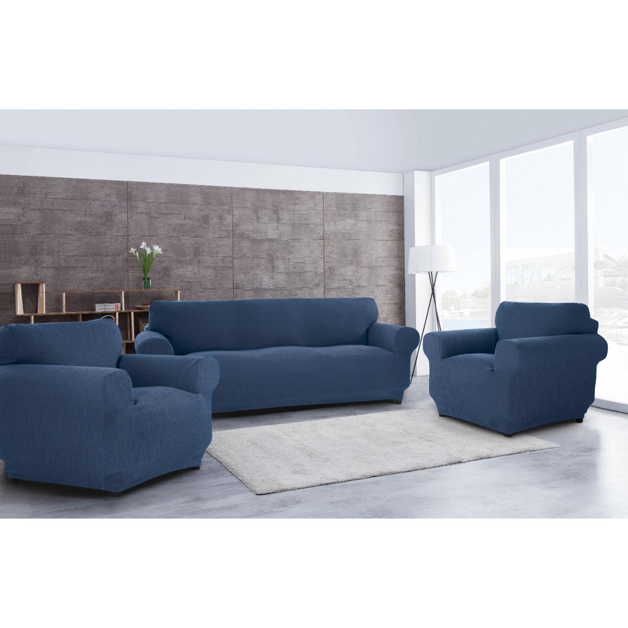 Fotografie Set huse elastice pentru canapea 3 locuri si 2 fotolii Kring Brilliante, 60% bumbac+ 35% poliester + 5% elastan, Albastru