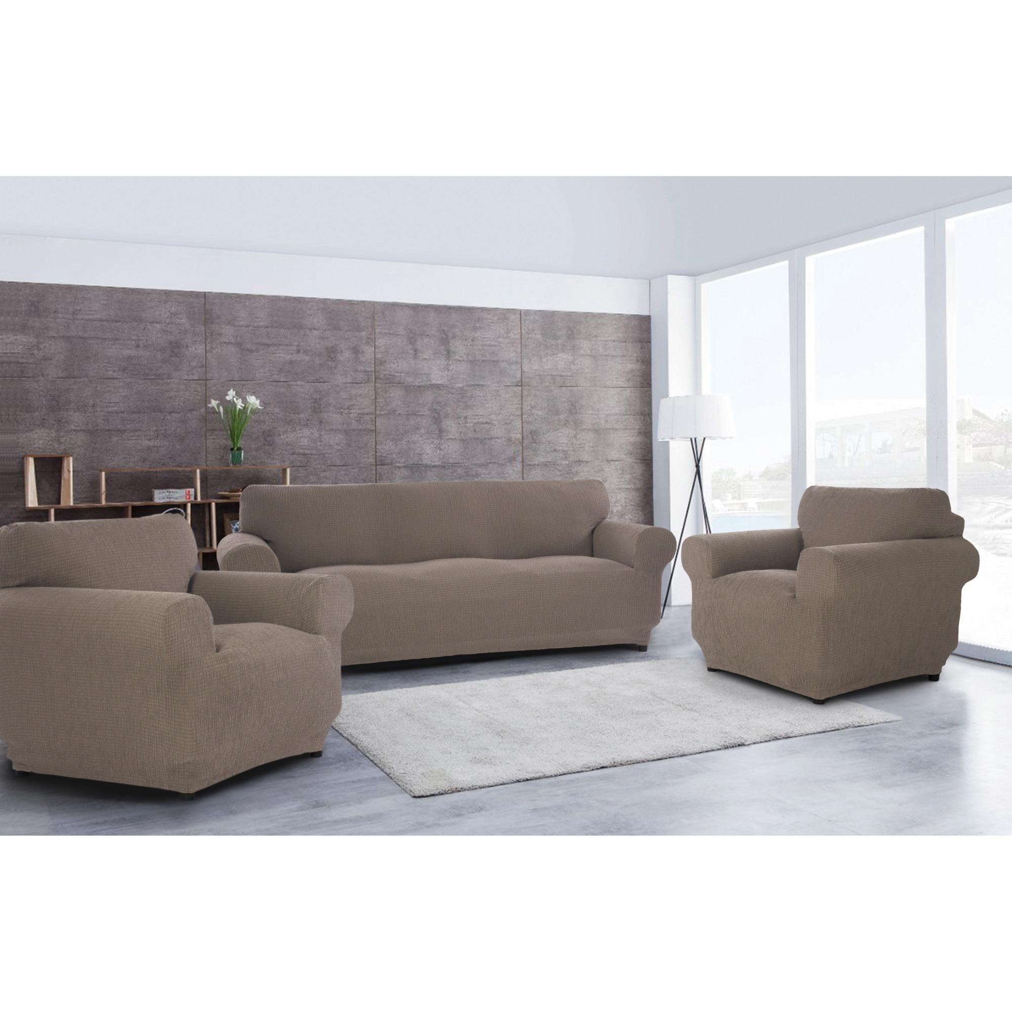 Fotografie Set huse elastice pentru canapea 3 locuri si 2 fotolii Kring Brilliante, 60% bumbac+ 35% poliester + 5% elastan, Cappuccino