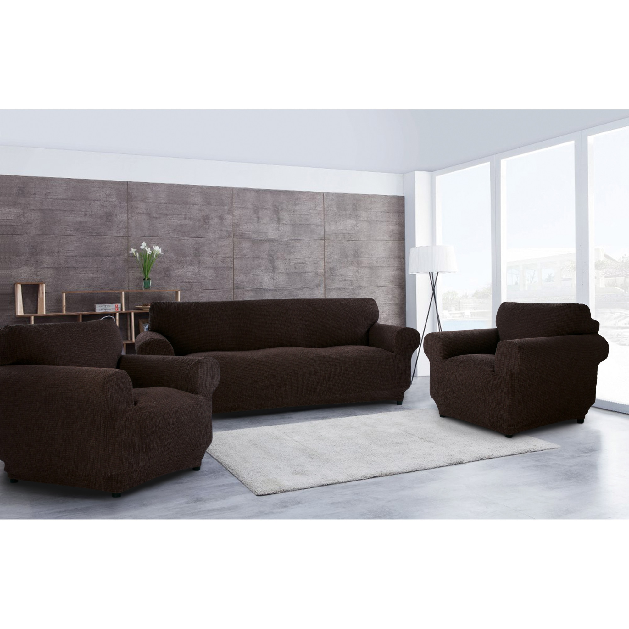 Fotografie Set huse elastice pentru canapea 3 locuri si 2 fotolii Kring Brilliante, 60% bumbac+ 35% poliester + 5% elastan, Maro inchis