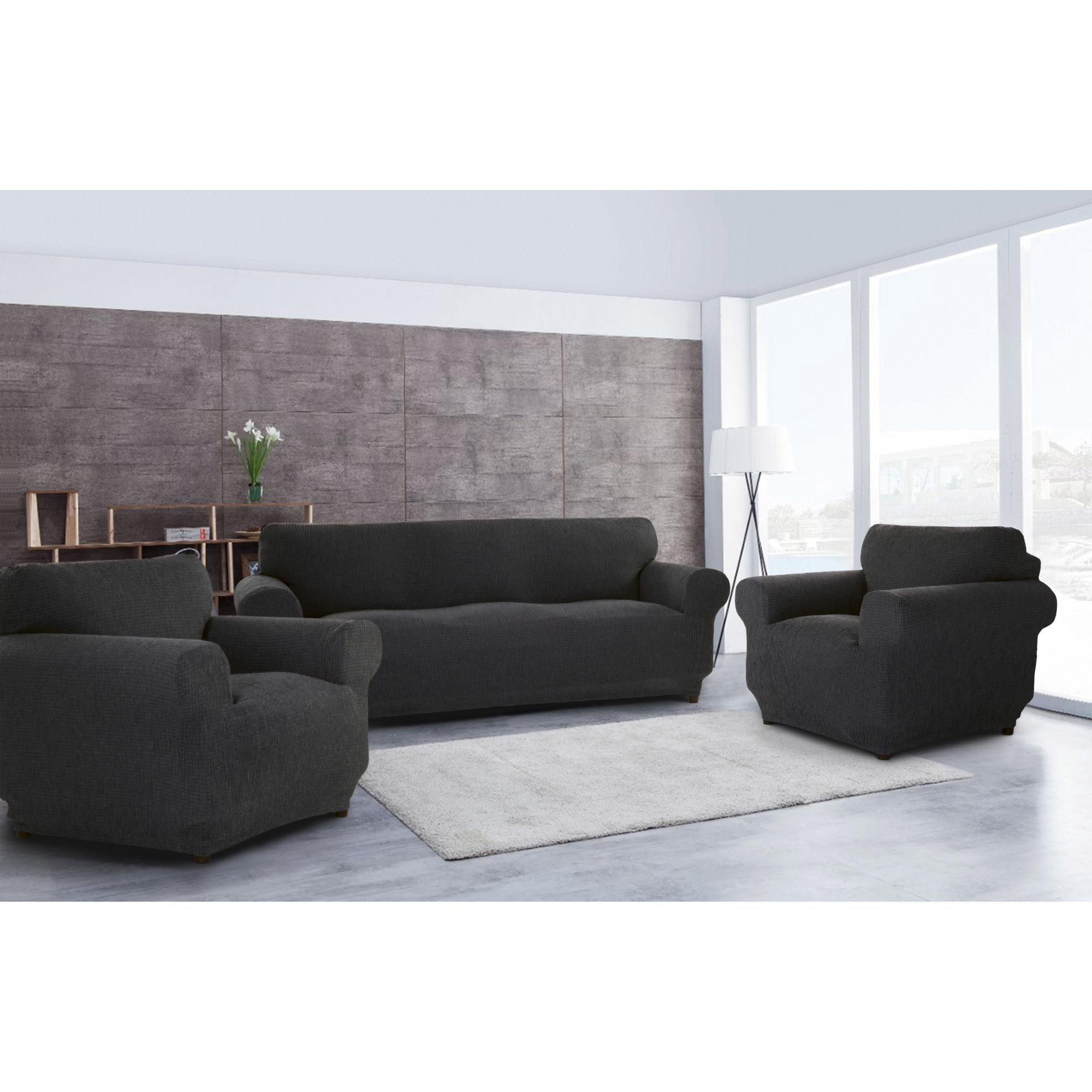 Fotografie Set huse elastice pentru canapea 3 locuri si 2 fotolii Kring Brilliante, 60% bumbac+ 35% poliester + 5% elastan, Gri