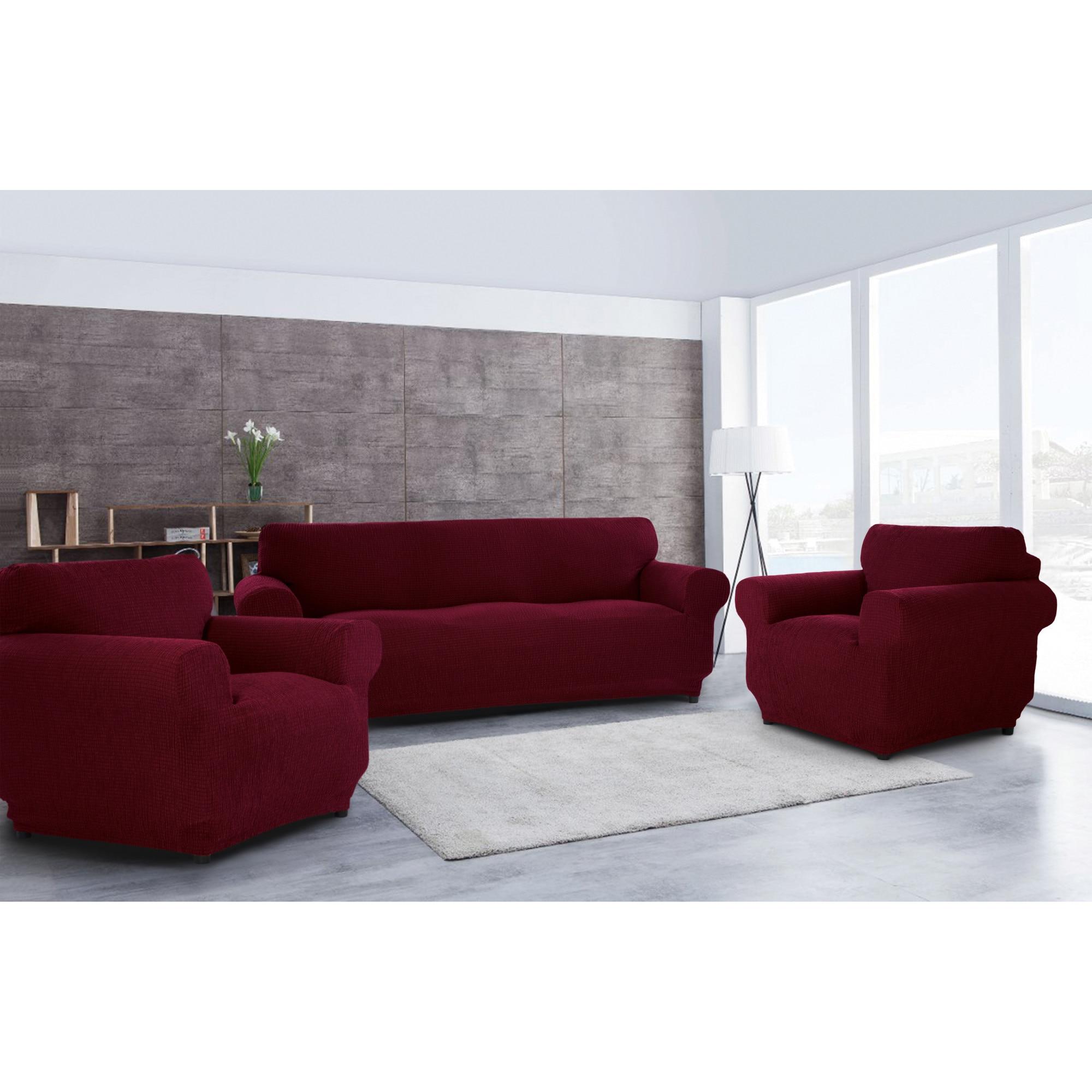 Fotografie Set huse elastice pentru canapea 3 locuri si 2 fotolii Kring Brilliante, 60% bumbac+ 35% poliester + 5% elastan, Bordeaux