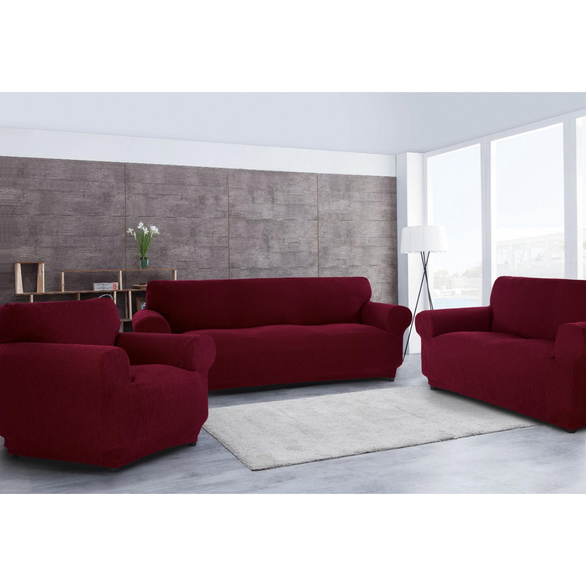 Fotografie Set huse elastice pentru o canapea 3 locuri, o canapea 2 locuri si 1 fotoliu Kring Brilliante, 60% bumbac+ 35% poliester + 5% elastan, Bordeaux