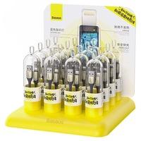 Baseus 16x USB - Lightning nylon adatok töltőkábel 2,4 A 1 m egy LED világos fekete (TZCALSP-A01)