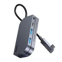 Baseus 6in1 Type-c USB multifunkciós HUB, memóriakártya-olvasó (USB 3.0, HDMI, micro SD) Power Delivery 60 W szürke (CAHUB-CWJ0G)