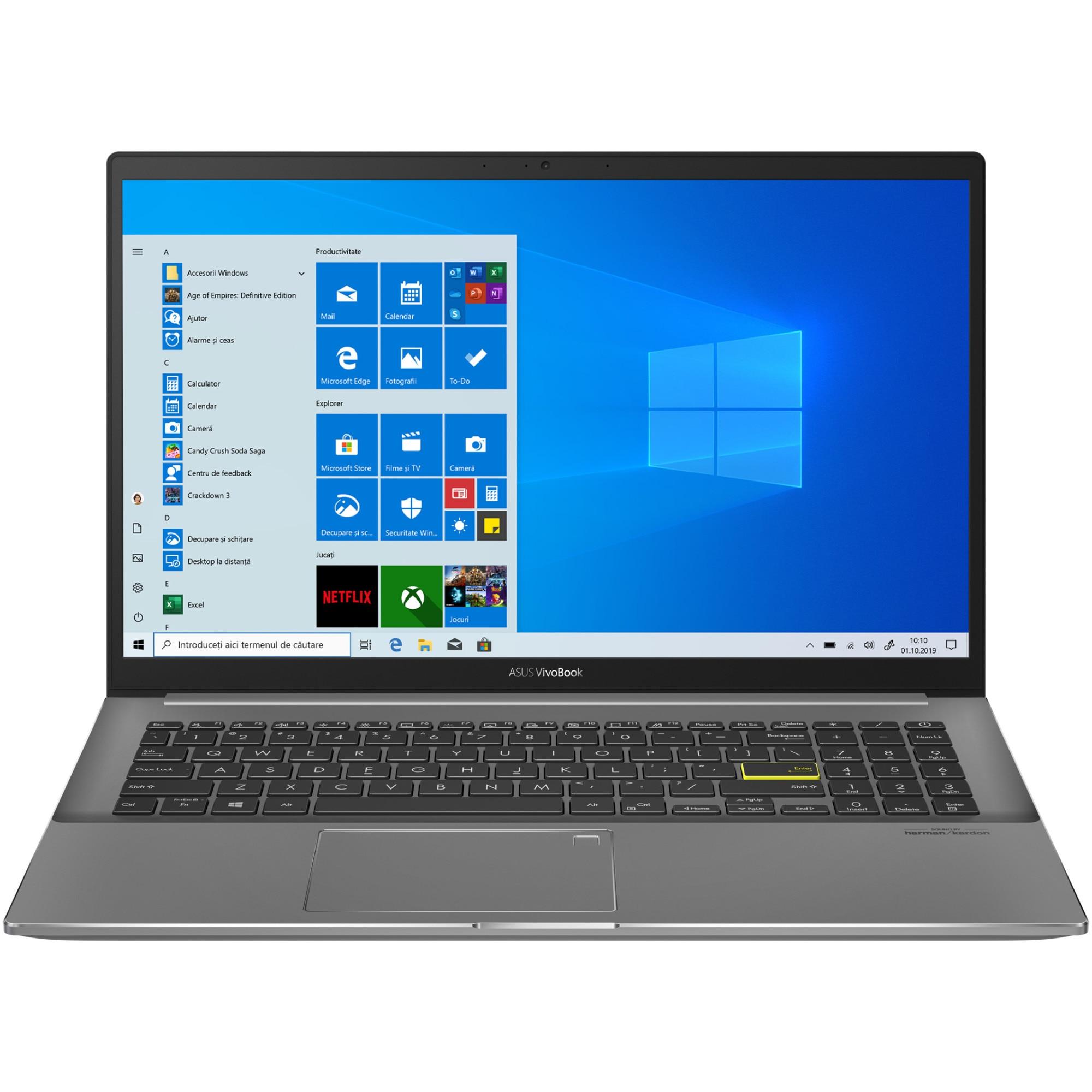 "Fotografie Laptop ASUS VivoBook S15 M533IA cu procesor AMD Ryzen(tm) 7 4700U pana la 4.10 GHz, 15.6"", Full HD, 16GB, 512GB SSD, AMD Radeon(tm) Graphics, Windows 10 Pro, Indie Black"