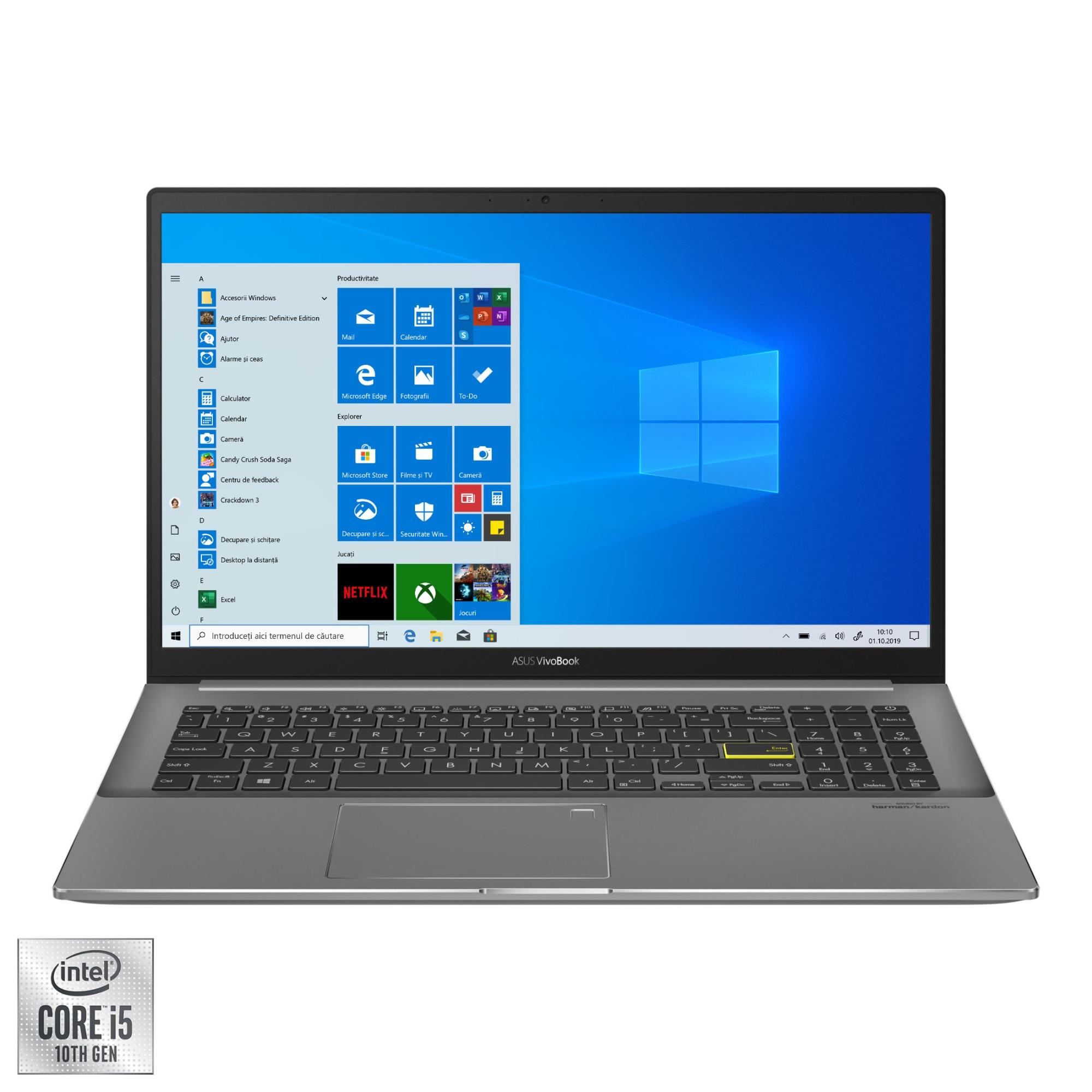 "Fotografie Laptop ASUS VivoBook S15 S533FA cu prcesor Intel® Core™ i5-10210U pana la 4.20 GHz, 15.6"", Full HD, 8GB, 512GB SSD, Intel® UHD Graphics, Windows 10 Pro, Indie Black"