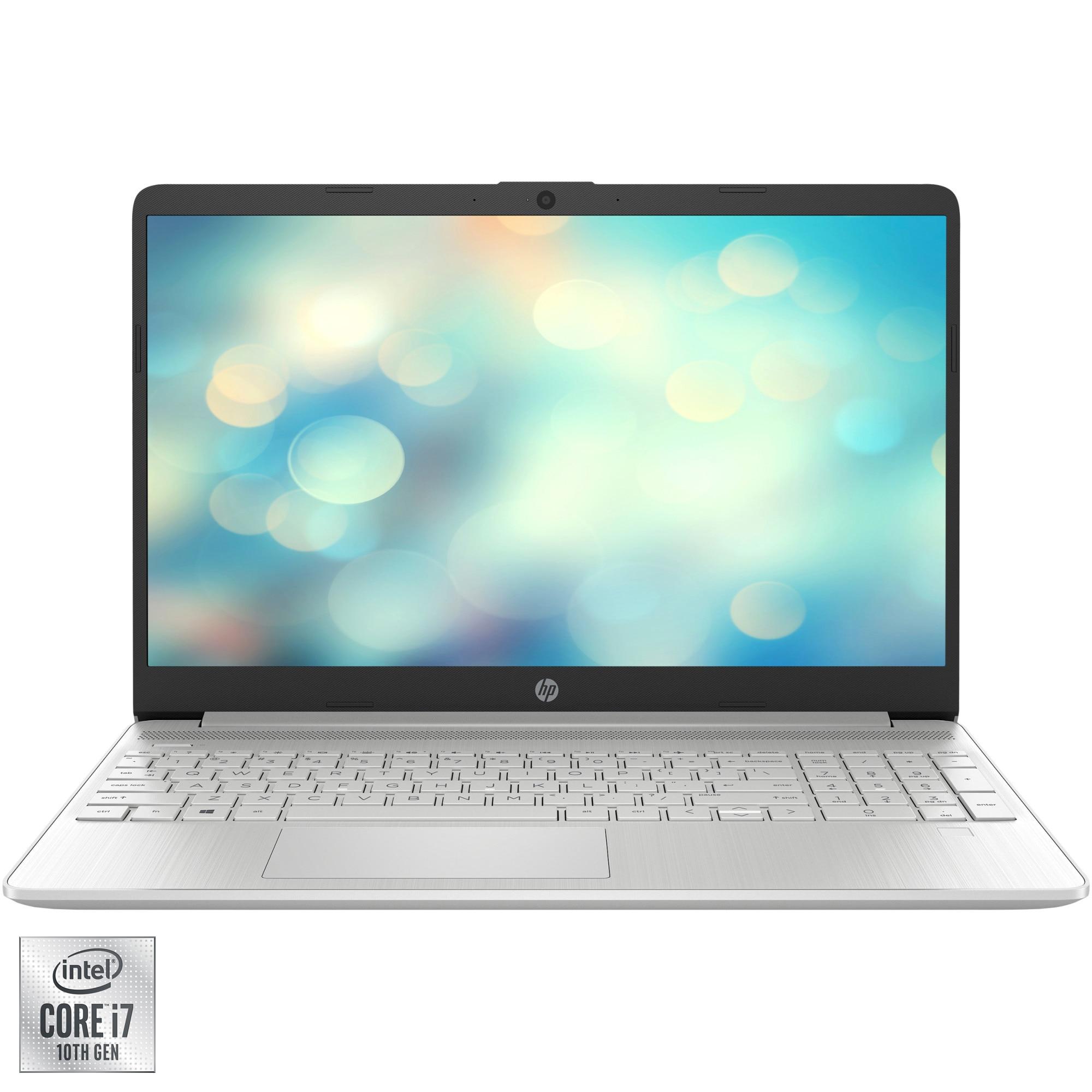 "Fotografie Laptop HP 15s-fq1096nq cu procesor Intel Core i7-1065G7 pana la 3.90 GHz, 15.6"", Full HD, 8GB, 512GB SSD, Intel Iris Plus Graphics, Free DOS, Natural Silver"