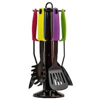 Set 6 ustensile de bucatarie cu maner multicolor si suport rotativ, Prima Kitchenware, negre, din Nylon