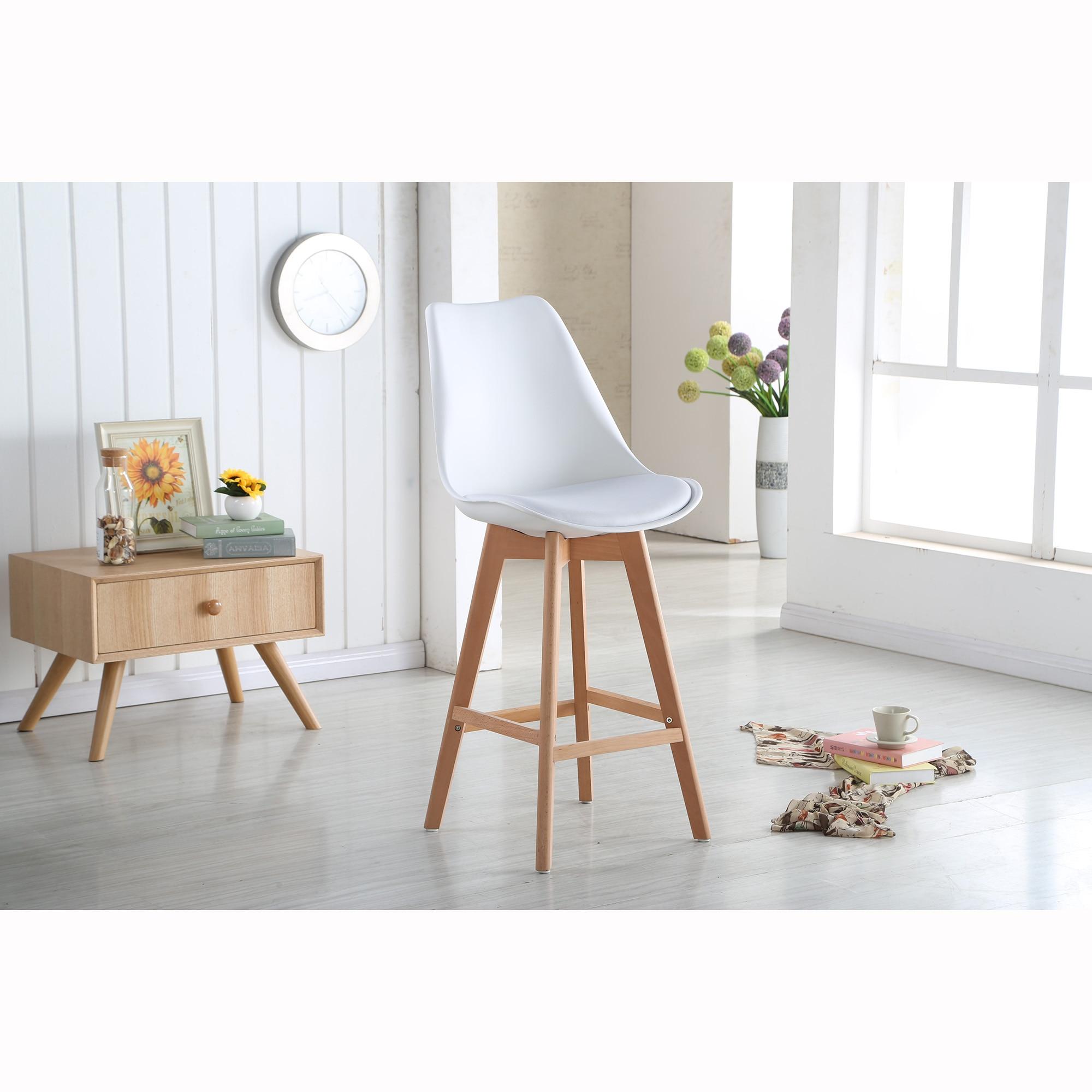 Fotografie Set 2 scaune de bar Kring, PP/lemn, Alb