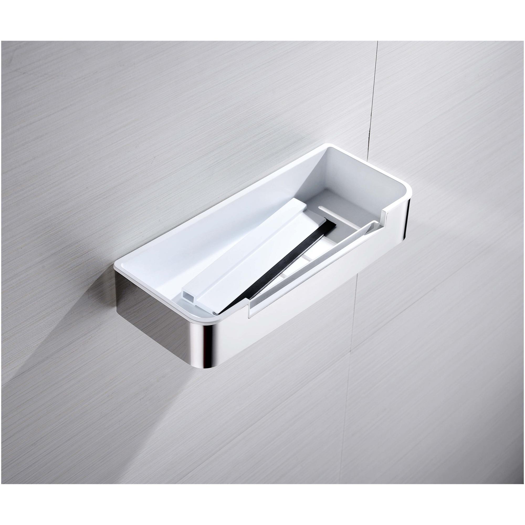 Fotografie Etajera dus Aquasanit CONCEPT, forma rectangulara, otel inoxidabil, crom lucios si ABS alb, include stergator pentru cabina de dus, montaj cu dibluri si suruburi