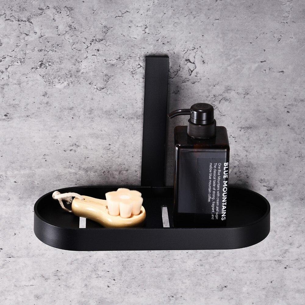 Fotografie Suport cosmetice baie Aquasanit EVOLUTION, aluminiu negru mat, montaj cu banda dublu adeziva (inclusa)