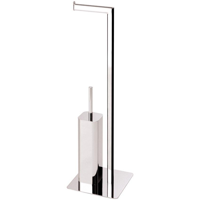 Fotografie Suport pentru perie WC si rola hartie igienica Aquasanit, perie WC cu maner si suport inchis, pozitionare pe pardoseala, otel cromat, crom lucios