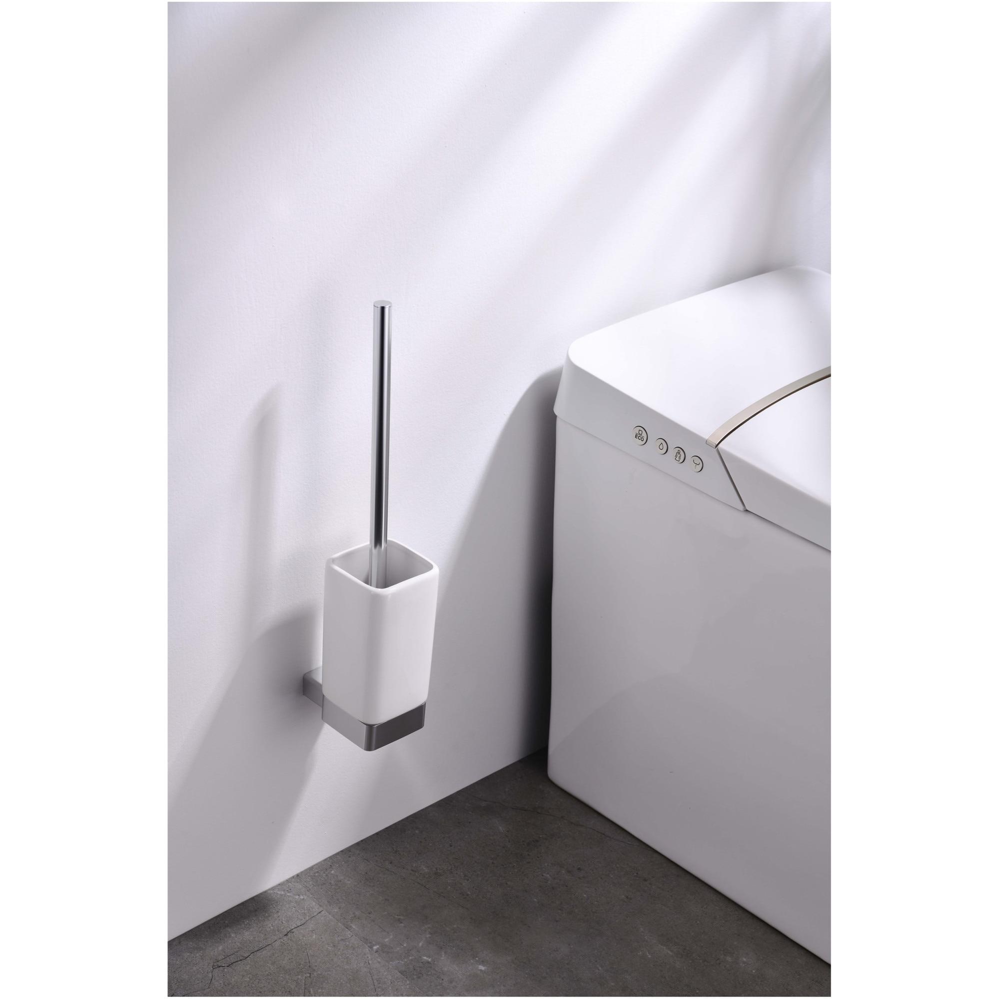Fotografie Suport perie WC Aquasanit LEAF, crom lucios, include peria WC cu maner crom lucios si bazinul pentru perie, montaj cu dibluri si suruburi