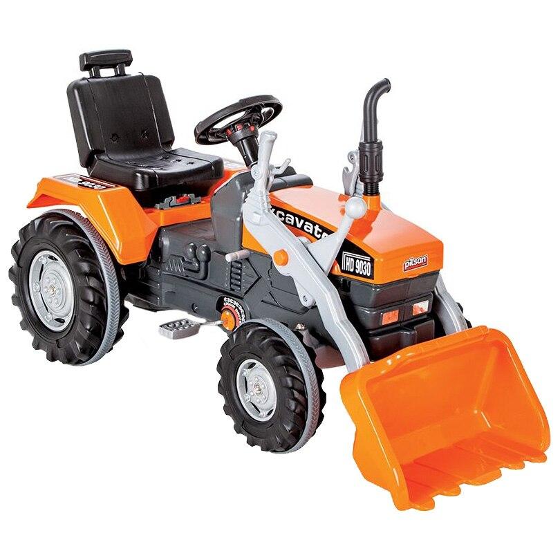 Fotografie Tractor cu pedale pentru copii Pilsan, cu cupa, portocaliu
