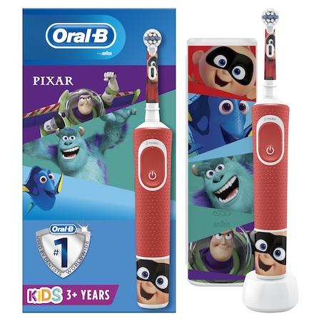 Ел. четка за зъби Oral-B Vitality Pixar За деца, 7600 осцилации/мин, 2D почистване, 2 програми, 1 накрайник, Включени 4 стикера, Комплект за пътуване, Червен