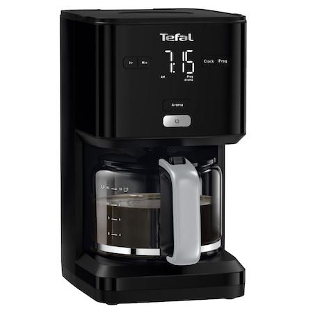 Cafetiera TEFAL Smart'n Light CM600810, 1000W, ecran digital, capacitate 1.25L, functie auto OFF, sistem antipicurare, carafa sticla, functie mentinere la cald, suport detasabil filtru, negru