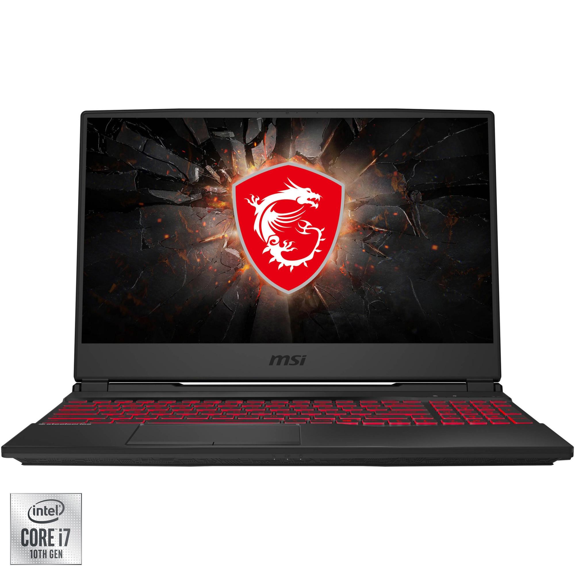 "Fotografie Laptop Gaming MSI GL65 Leopard 10SFSK-279XRO cu procesor Intel Core i7-10750H pana la 5.00 GHz, 15.6"", Full HD, 144Hz, 16GB, 512GB SSD, NVIDIA GeForce RTX2070 Super 8GB, Free DOS, Black"
