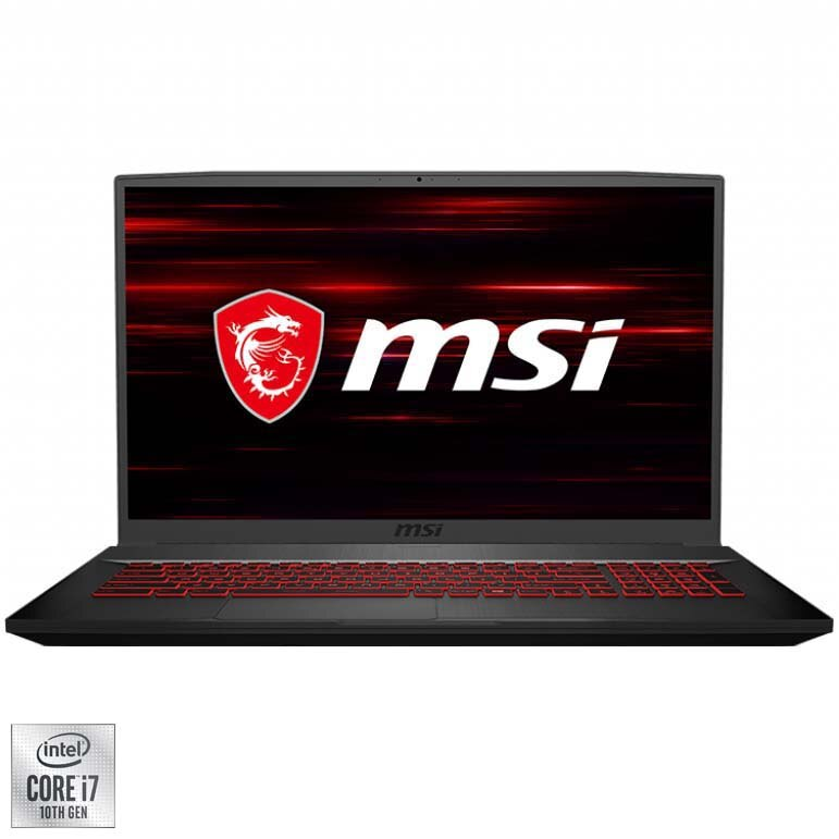 "Fotografie Laptop Gaming MSI GF75 Thin 10SER-606XRO cu procesor Intel Core i7-10750H pana la 5.00 GHz, 17.3"", Full HD, 144Hz, 16GB, 1TB SSD, Nvidia GeForce RTX2060 6GB, No OS, Black"