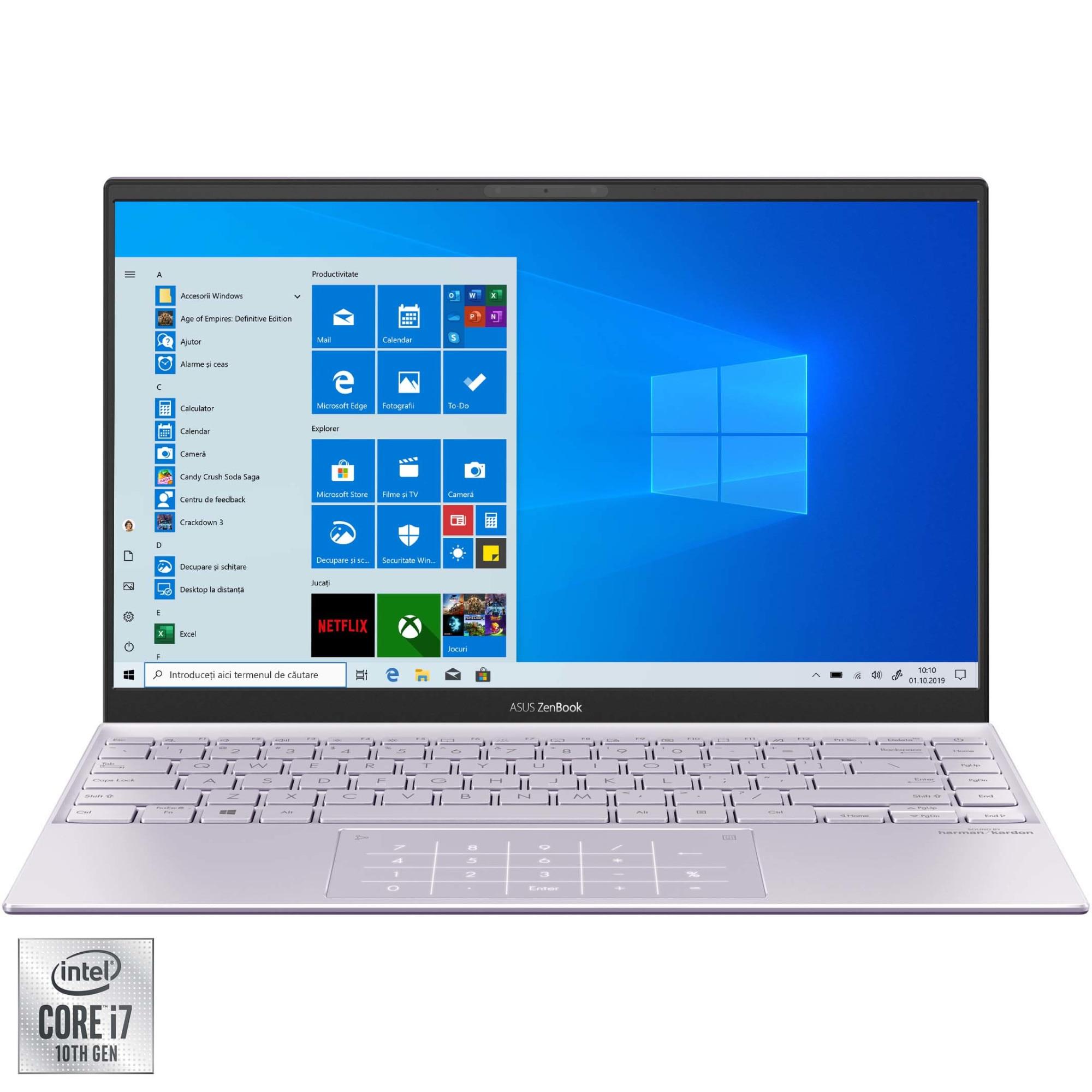 "Fotografie Laptop ultraportabil ASUS ZenBook 14 UX425JA cu procesor Intel® Core™ i7-1065G7 pana la 3.90 GHz, 14"", Full HD, 16GB, 512GB SSD, Intel® Iris™ Plus Graphics, Windows 10 Home, Lilac Mist"