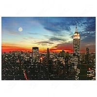 Картина с LED лампички, Нощ над града, Многоцветна, 60 х 40 см