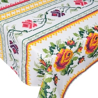 Fata de masa traditionala, BonDia, Model Traditii 113, 150 cm x 180 cm, Bumbac, Alb/Galben, Flori/Traditional