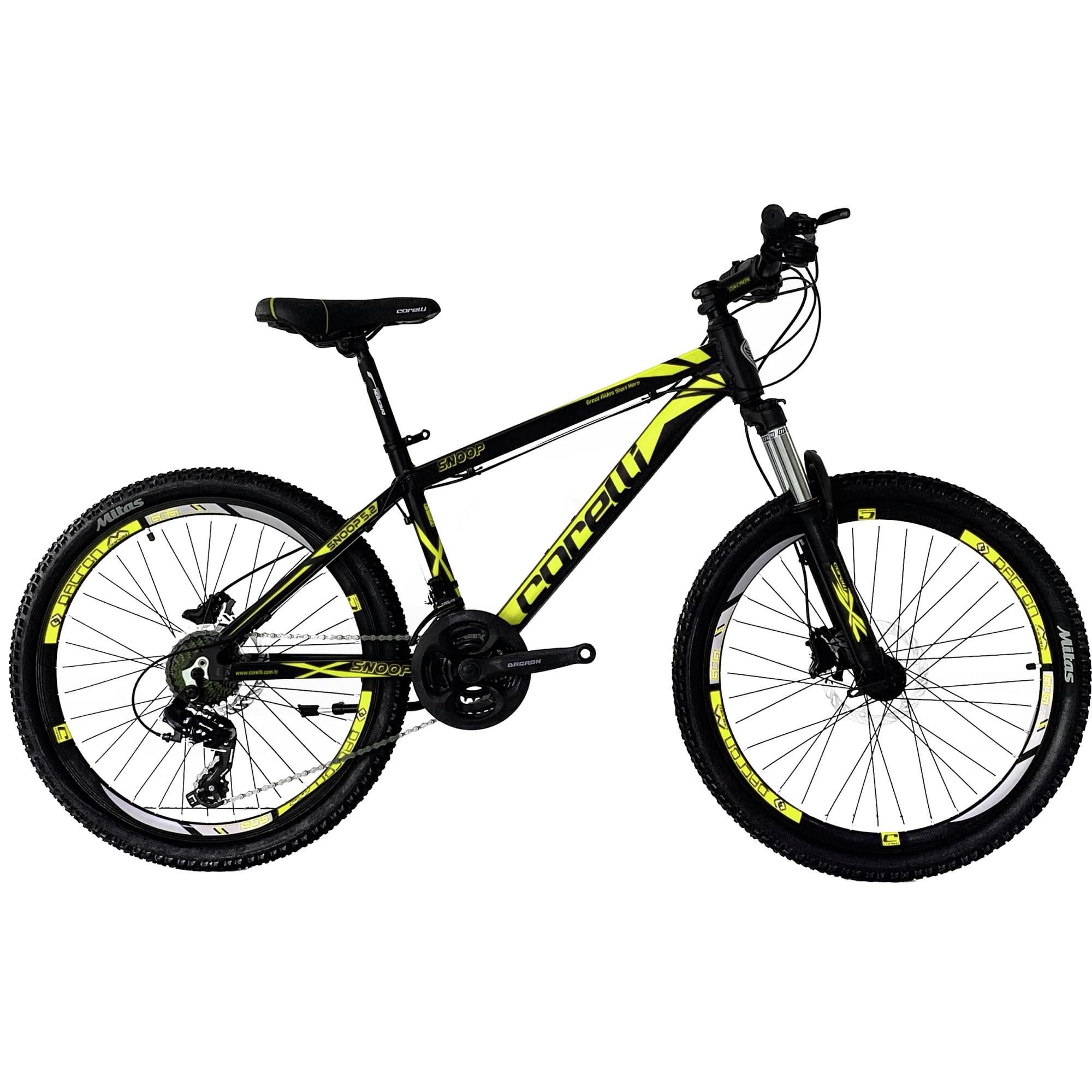 "Fotografie Bicicleta MTB copii, 24"" SNOOP 5.2, marime cadru 35.5 cm, negru-galben"