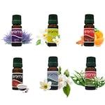 Illóolaj / illatkészlet, 6 db x 10 ml - levendula, vanília, balzsam, narancs és fahéj, fehér pézsma, könnyek