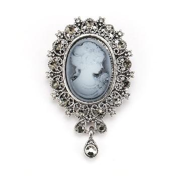 Brosa cu pietre, argintie, Kristiana C6