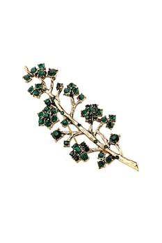Brosa Eleganta, ramura cu cristale verde inchis, Auriu bronz