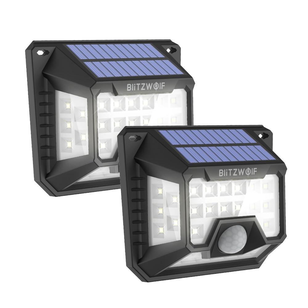 Fotografie Set 2 lampi solare BlitzWolf BW-OLT3, cu senzor de lumina/miscare, 200 lm, acumulator 1200 mAh, IP64