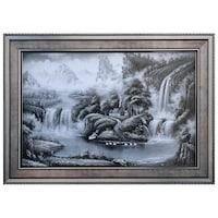 Картина, Пейзаж и релефни елементи, Черно/Бял, 77 х 107 см