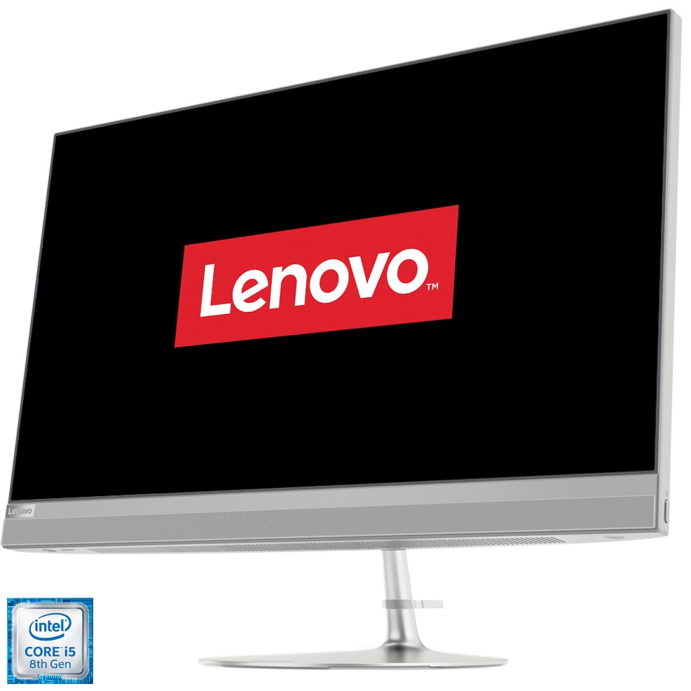 "Fotografie Sistem All-in-One Lenovo Ideacentre 520-27ICB cu procesor Intel® Core™ i5-8400T pana la 3.30GHz, 27"", QHD, 8GB DDR4, 256GB SSD M.2 PCIe + 1TB HDD, Intel UHD Graphics 630, No OS, Silver, Mouse + Tastatura"