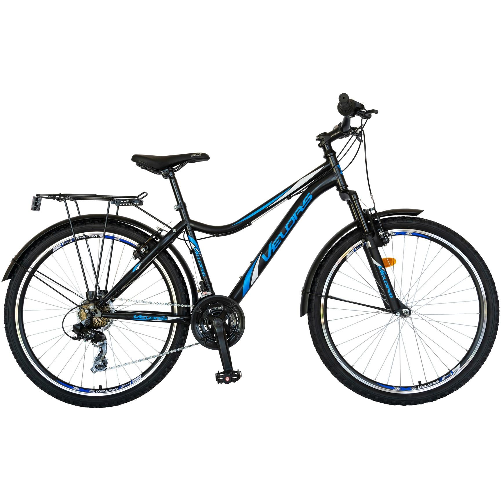 """Fotografie Bicicleta City 26"""" Carpat V2633B echipare Shimano, Negru/Albastru"""