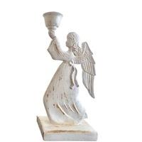 Декоративна фигура, Ангел свещник, Бял, 33см
