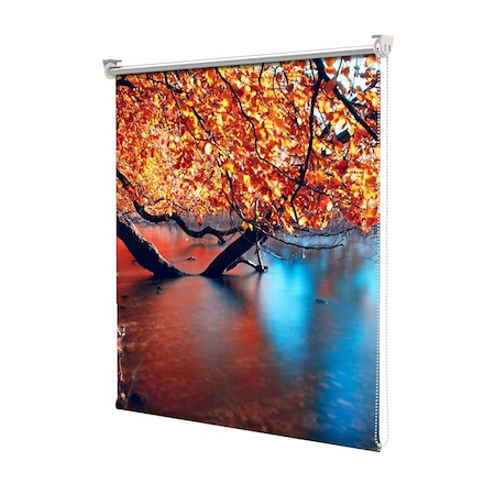 Rolete Art Shade tip Jaluzele cu Rulou si sistem inclus, Peisaj de Toamna cu Umbre rosii pe lacul albastru, Decoratiuni, Latime 100 cm x Inaltime 250 cm