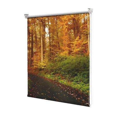 Rolete Art Shade tip Jaluzele cu Rulou si sistem inclus, Peisaj de Toamna cu Sosea acoperita cu frunze , Decoratiuni, Latime 100 cm x Inaltime 250 cm