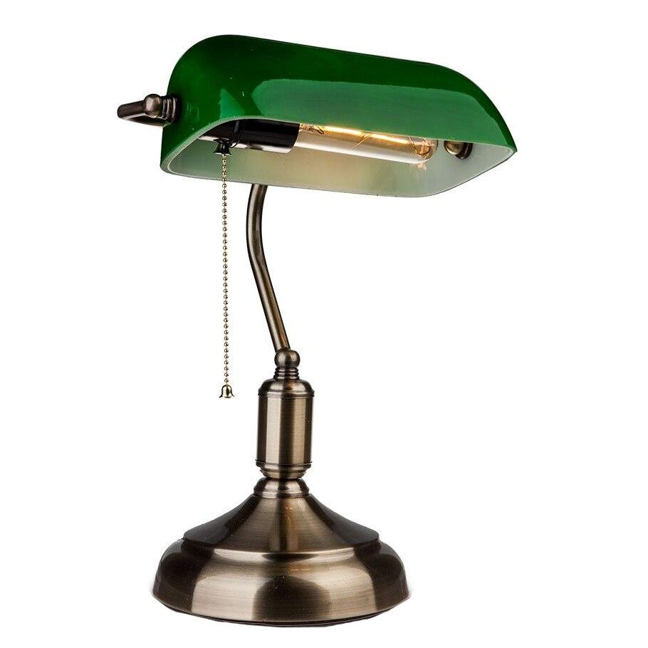 Fotografie Lampa birou V-Tac Vintage, E27, 60W, 36 cm, Metal/Sticla, Verde