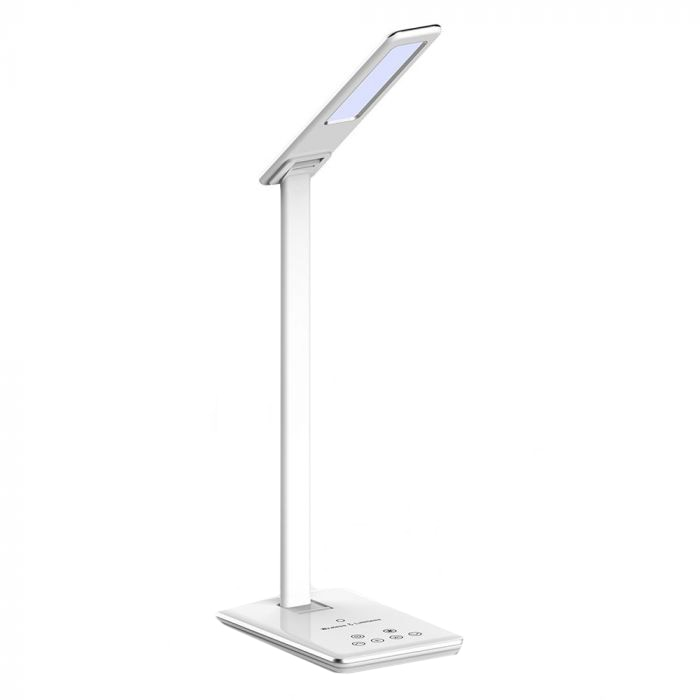 Fotografie Lampa LED pentru birou V-Tac, incarcator telefon wireless 1A, control touch, USB, 5W, 800 lm, A++ , temeperatura lumina calda/rece, Aluminiu, Alb
