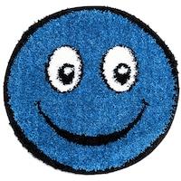 covor rotund albastru