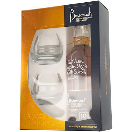 Whisky Benromach 10 YO, Single Malt, Cutie 2 pahare, 43%, 0.7l