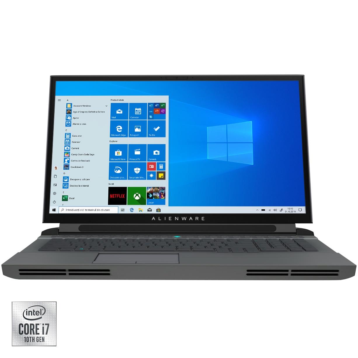"Fotografie Laptop Gaming Alienware Area 51M R2 cu procesor Intel Core i7-10700K pana la 5.10 GHz, 17.3"", Full HD, 300Hz, 16GB, 512GB SSD, NVIDIA GeForce RTX 2070 SUPER 8GB, Windows 10 Pro, Dark Side of the Moon"