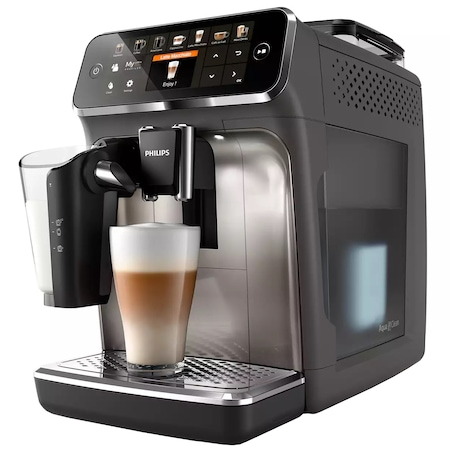 Espressor automat Philips Seria 5400 EP5444/90, sistem de lapte LatteGo, 12 bauturi, display digital TFT si pictograme color, filtru AquaClean, rasnita ceramica, optiune cafea macinata, functie MEMO 4 profiluri, Gri casmir