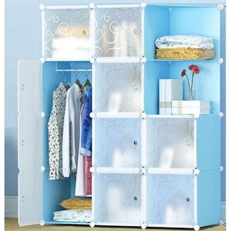 Moduláris szekrény x12 kék és fehér 148 x 110 x 45 cm