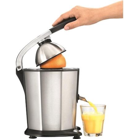 Presa electrica de citrice Solis, Citrus Juicer 8453, motor puternic, silentios, sistem anti-drip, potrivit pentru dimensiuni diverse de citrice, corp si sita din otel inoxidabil, argintiu