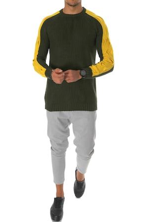 Pulover barbati, T3586, slim fit, kaki, XS/S