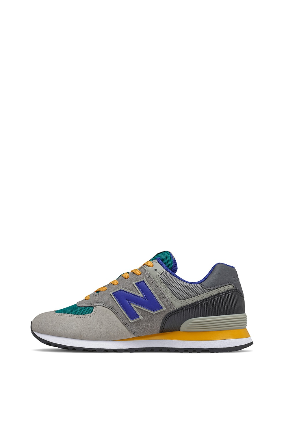 New Balance, Pantofi sport colorblock cu insertii de piele intoarsa 574, Gri/Verde persan/Albastru royal, 9.5