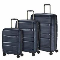 Travelite Motion bőrönd szett kék 4 kerekű 3 részes