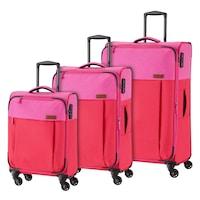 Travelite Neopak bőrönd szett piros-pink 4 kerekű 3 részes
