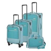 Travelite Arona bőrönd szett aqua 4 kerekű 4 részes