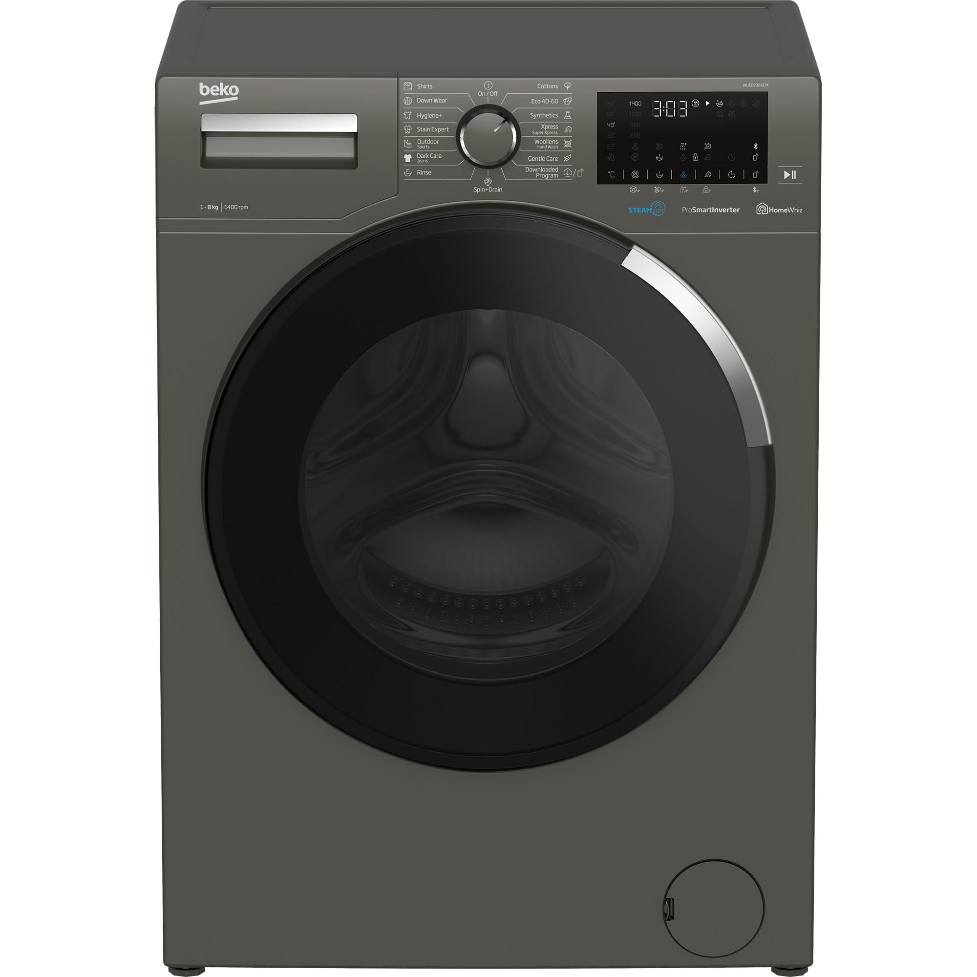 Fotografie Masina de spalat rufe Beko WUE8736XCM, 8 kg, 1400 RPM, Clasa A+++, SteamCure, HomeWhiz, Motor ProSmart Inverter, Bluetooth, Antracit